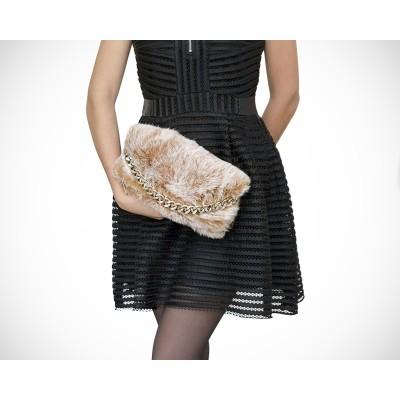 #BELLEZZABIANCA #BELLEZZA #BIANCA #SACAMAIN #CUIR #FOURRURE #FEMME #AGL #Lapin #Clutch #Pochette #Fluffy #Anna #bag #Beige #Glac
