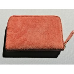 Compagnon Portefeuilles Baby Kate Suede daim Corail Made in Italy
