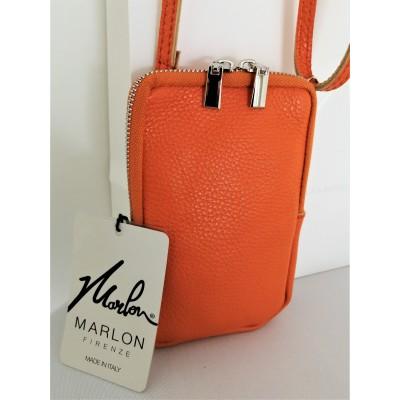 Pochette pour Téléphone Mobile Cuir Vachette Orange