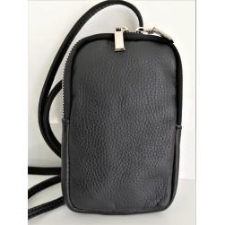 Pochette pour Téléphone Mobile Cuir Vachette Noire