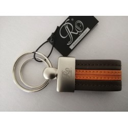 Porte-Clé Hommes Cuir Marron Orange Roberto Mantellassi