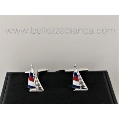 Boutons de Manchette Voilier Bleu Blanc Rouge