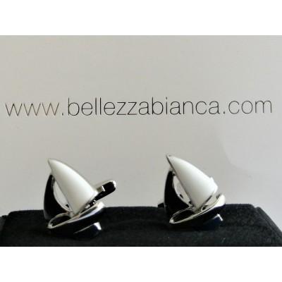 Boutons de Manchette Voilier Blanc