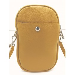 Pochette Téléphone Mobile Cuir Vachette Jaune moutarde Made in italy