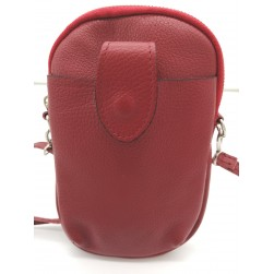 Pochette Téléphone Mobile Cuir Vachette rouge Made in Italy