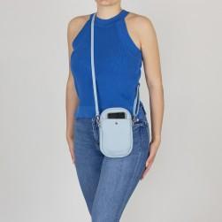 Pochette Téléphone Mobile Cuir Vachette Bleu Ciel Made in italy