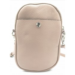 Pochette Téléphone Mobile Cuir Vachette Nude Made in italy